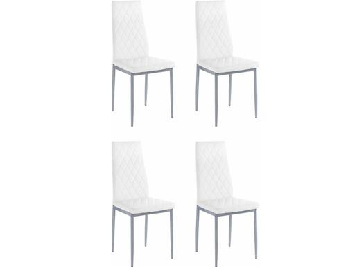 4er-Set Esszimmerstühle BARRON aus Kunstleder in weiß/grau