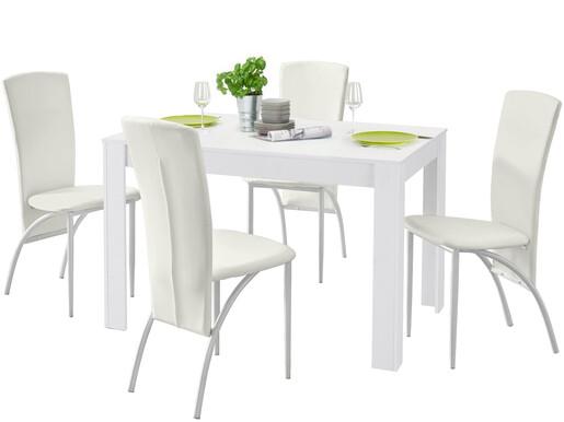 5-tlg. Essgruppe NICONE, 4 Stühle in weiß, Tisch 120 cm
