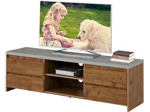TV-Lowboard MALIBU mit 4 Schubladen, natur/beton, 150 cm