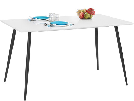 Esstisch DANTE in weiß mit Metallgestell in schwarz, 140 cm