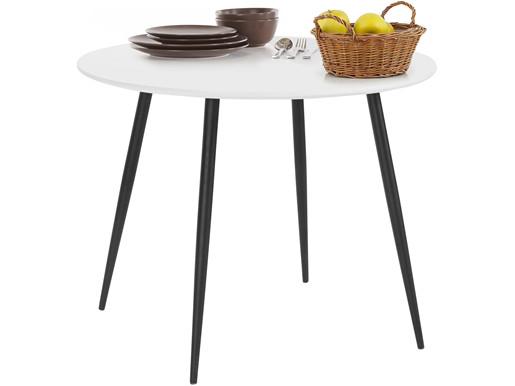 Runder Esstisch DANTE 100 cm in weiß mit Metallgestell