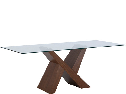 Esstisch BECCA mit Glastischplatte, walnuss Breite 200 cm