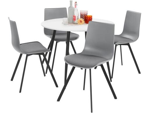 5-tlg. Essgruppe LUCY, 4 Stühle in grau, Tisch Ø100 cm