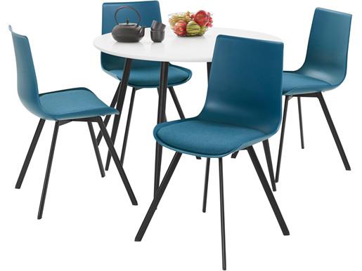 5-tlg. Essgruppe LUCY, 4 Stühle in petrol, Tisch Ø100 cm