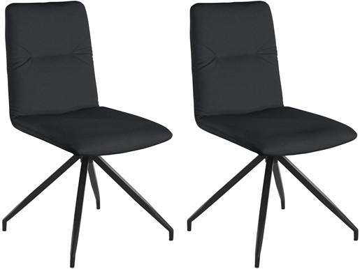 2er-Set Drehstuhl ADIL Kunstleder Bezug in schwarz