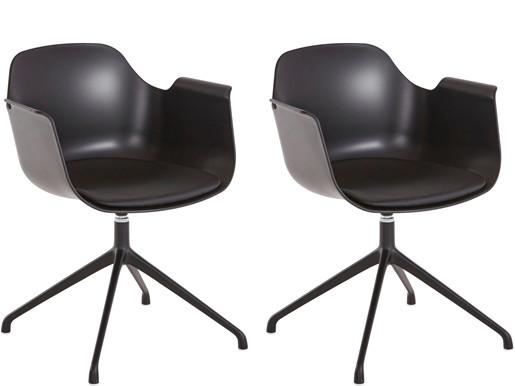2er-Set Drehstuhl SARON mit Kunstleder Sitzkissen, schwarz
