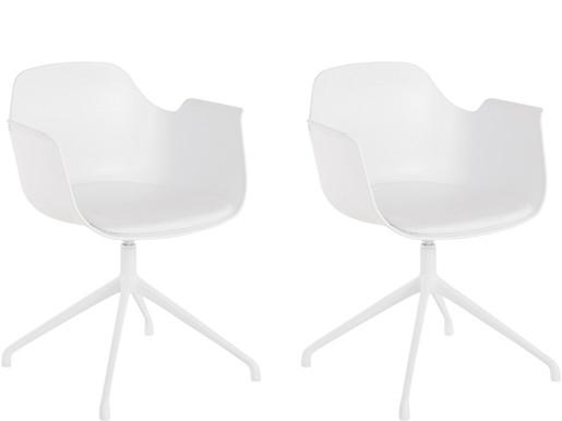 2er-Set Drehstuhl SARON mit Sitzkissen aus Kunstleder, weiß