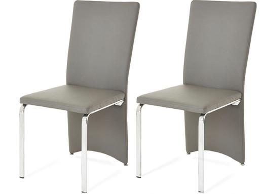 2er Set Esszimmerstuhl BRITTAIN aus Kunstleder in grau/weiß