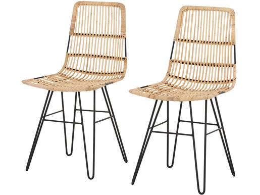 2er-Set Stühle FINNEAS Metallgestell mit Rattan in natur