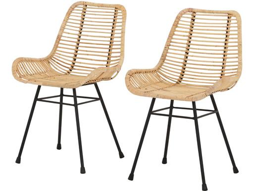2er-Set Stühle JULIO aus Metall mit Rattangeflecht, natur