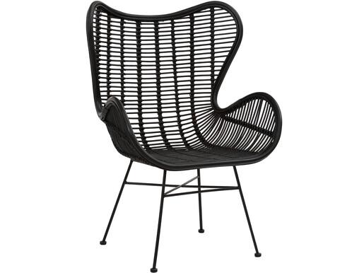 Sessel ALBA aus Rattan mit Metallgestell in schwarz