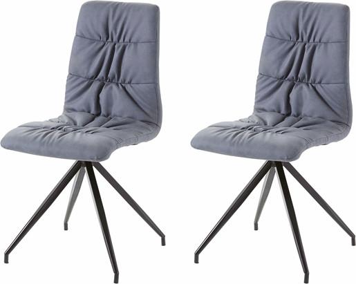 2er-Set Stühle GARY mit Kunstleder in blaugrau/schwarz