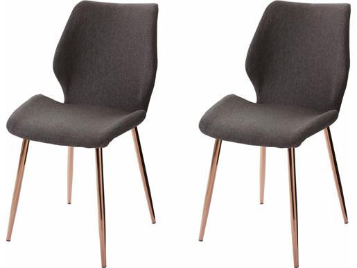 2er-Set Stühle AIDA in anthrazit, Metallbeine verchromt