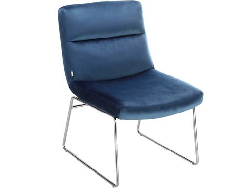 Gepolsterter Stuhl GABOR mit Samt Bezug in blau