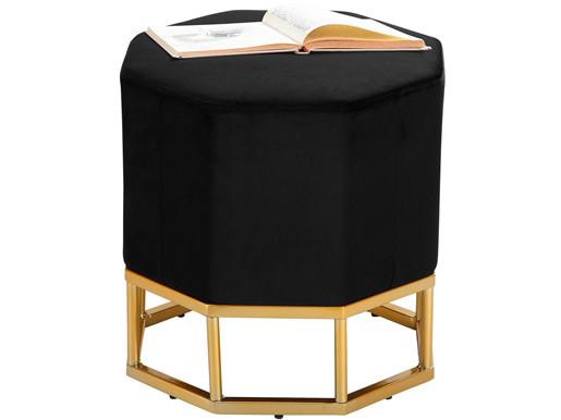 Gepolsterter Hocker INA in schwarz Samtbezug, Breite 42 cm