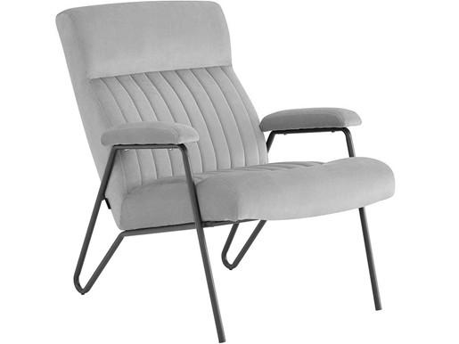 Lounge Stuhl RAFAL Samtbezug in grau, Sitzhöhe 44 cm
