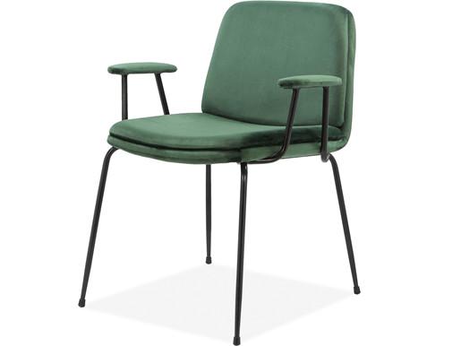 2er-Set Stühle HENRY mit Armlehne, Samtvelours in grün