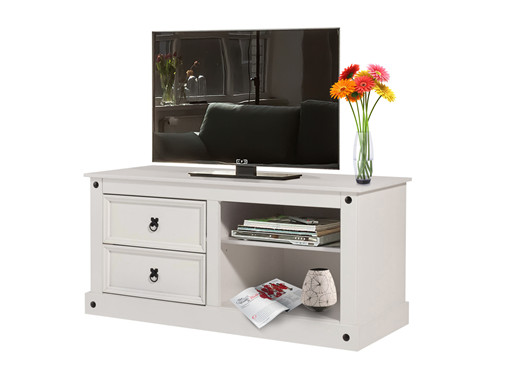 TV Lowboard MIGUEL aus Kiefer massiv in weiß lackiert