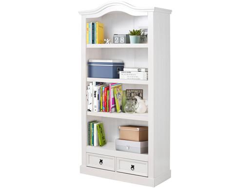 Bücherregal MIGUEL mit Schubladen aus Kiefernholz in weiß
