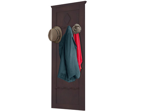 Wandgarderobe ABBY mit 8 Haken Kiefer massiv in havana