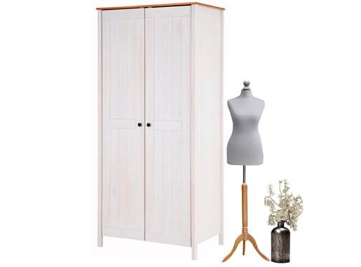 Kleiderschrank PULLMANN mit 2 Türen in weiß & honig