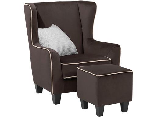Sessel mit Hocker POMELO mit Samtbezug in braun taupe