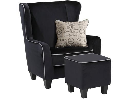 Sessel mit Hocker POMELO mit Samtbezug in schwarz/ grau