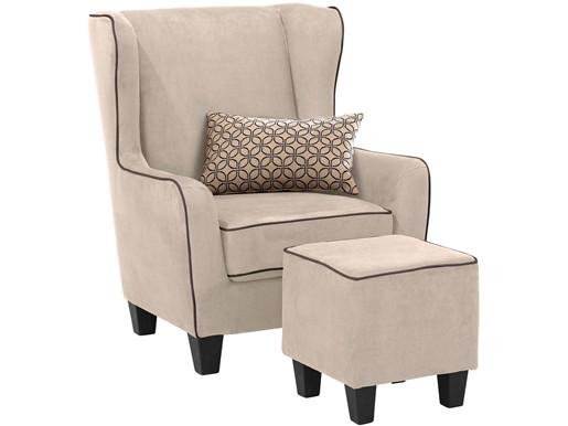 Sessel mit Hocker POMELO mit Mikrofaser in creme/braun