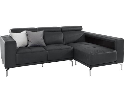 Ecksofa NALIM aus Leder in schwarz, Recamiere rechts