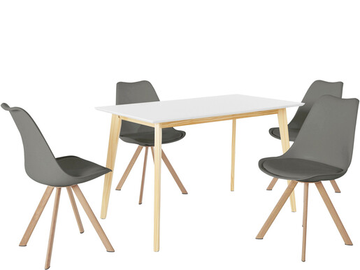 5-tlg. Essgruppe CONAN 120 cm in weiß, 4 Stühle in grau