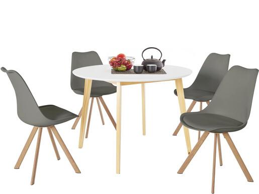 5-tlg. Essgruppe CONAN Ø105 cm in weiß, 4 Stühle in grau