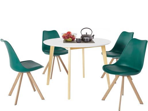 5-tlg. Essgruppe CONAN Ø105 cm in weiß, 4 Stühle in petrol