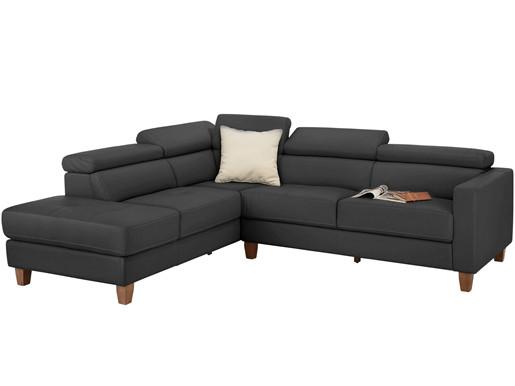 5-Sitzer Sofa LUCA aus PU in grau Ottoman Rechts