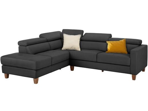 5-Sitzer Sofa LUCA aus Glattleder & PU in grau Rechts
