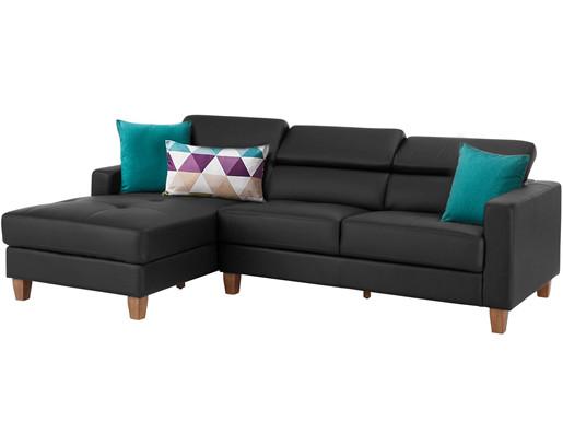 3-Sitzer Sofa LUCA aus Glattleder & PU in grau Links