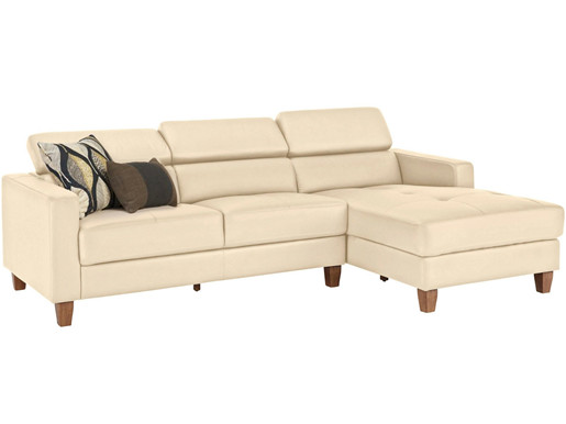 3-Sitzer Sofa LUCA Glattleder& PU in creme Ottoman rechts