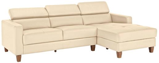 3-Sitzer Sofa LUCA aus PU in creme Ottoman rechts
