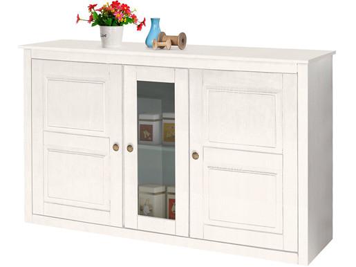 Sideboard MARIO aus Kiefer massiv mit Glastür in weiß