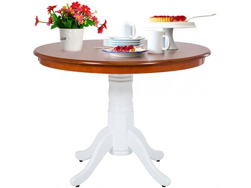Tisch MAGGIE Ø101cm aus MDF in weiss & honig