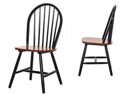 2er Set Stühle MAGGIE aus Massivholz in schwarz und hönig