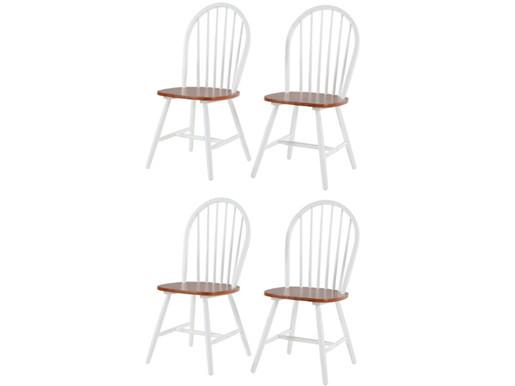 4er Set Stühle MAGGIE aus Massivholz in weiß & honig
