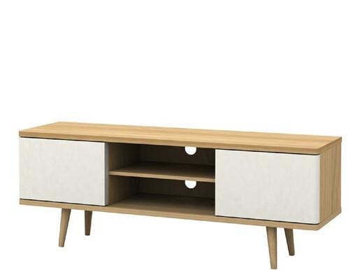 TV Lowboard ANNE in eiche mit 2 Türen in weiß, Länge 140 cm