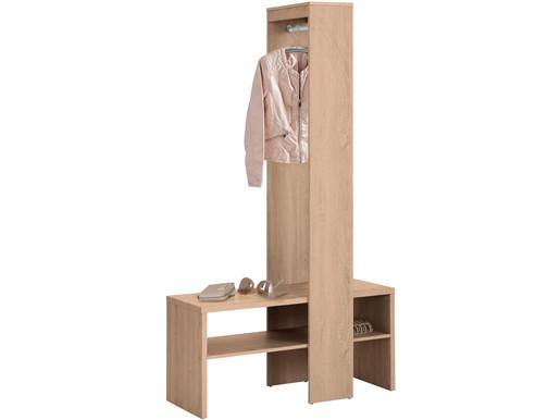 Garderobenschrank HUGO mit Kleiderstange in eichefarben