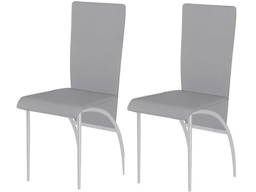 2er-Set Esszimmerstühle MONIQUE aus Kunstleder in grau