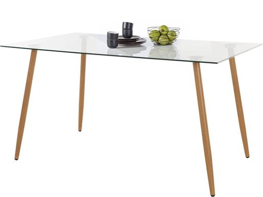 Esstisch MIANA mit Glasplatte und Holzbeinen, 140 cm