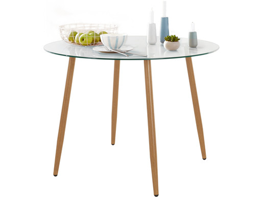Esstisch rund MIANA mit Glasplatte und Holzbeinen, Ø100 cm