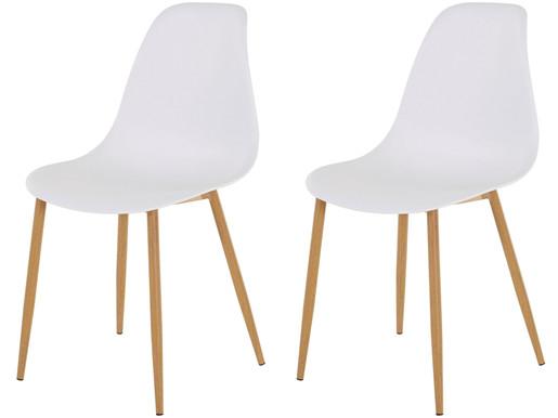 2er-Set Stuhl MIANA Schalenstuhl in weiss