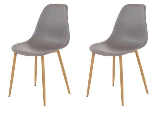 2er-Set Stuhl MIANA Kunststoffschale in grau Beine Metall