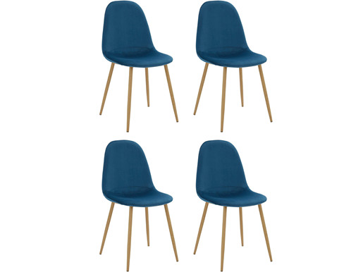 4er-Set Schalenstuhl MIANA Samt Bezug in blau