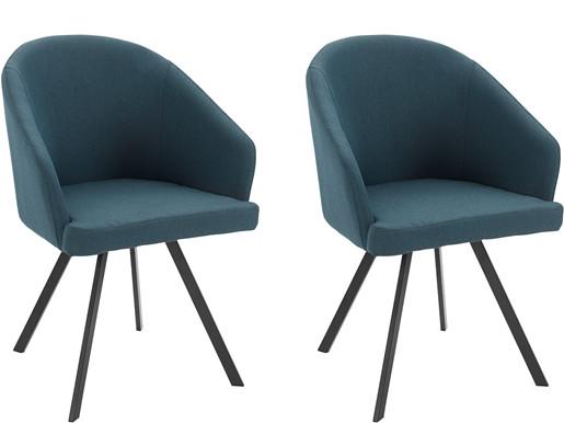 2er-Set Polsterstühle BARON mit Webstoff Bezug in blau
